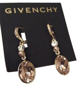 Givenchy Swarovski elements rose with faux small pearl crystals sets in goId tone dangled earring