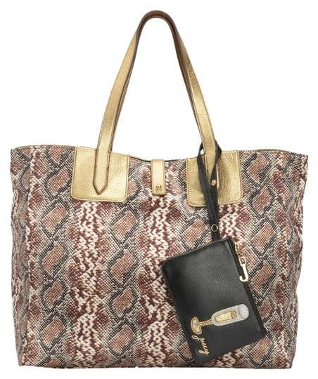 Juicy Couture Tote in Gold with Reversed Side Snake Print Image 1