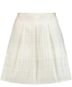 Vince White Woven Pleated Textured Mini Skirt optic white