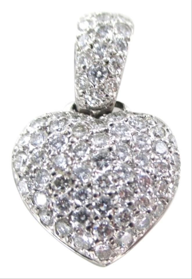 95806d95a2 Other 18KT WHITE GOLD 79 DIAMONDS 1.50 CARAT PAVE HEART PENDANT LOVE JEWELRY  Image 0 ...