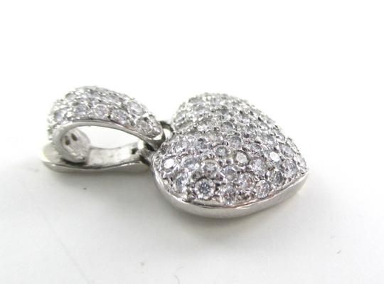 Other 18KT WHITE GOLD 79 DIAMONDS 1.50 CARAT PAVE HEART PENDANT LOVE JEWELRY