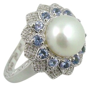 Other Cultured Freshwater Pearl and Tanzanite Sterling Silver Ring - Size 6
