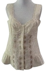 Nanette Lepore Silk Bustier Cropped Tank Top cream