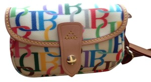 Dooney & Bourke Large Db Rainbow Extremely Rare Wristlet in multi on cream background