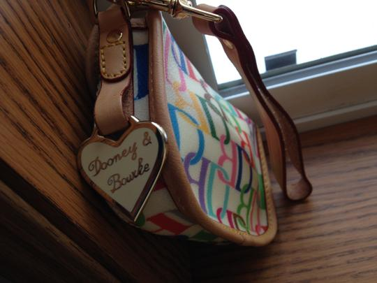 Dooney & Bourke Large Db Rainbow Multi-color Extremely Rare Wristlet in multi on cream background