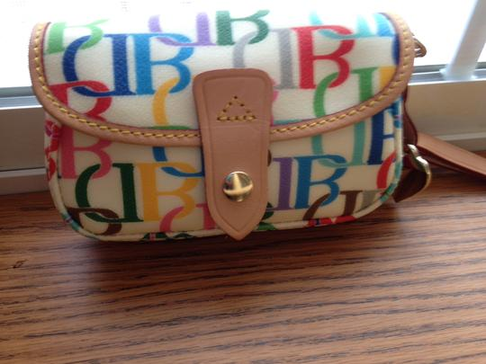 Dooney & Bourke Large Db Rainbow Multi-color Extremely Rare Wristlet in multi on cream background Image 2