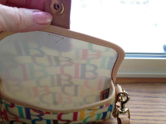Dooney & Bourke Large Db Rainbow Multi-color Extremely Rare Wristlet in multi on cream background Image 3