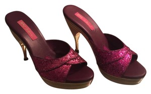 Betsey Johnson Glitter Sparkle Wood Gold Fuschia Pumps