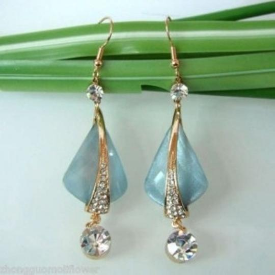 Swarovski Blue Acetate Quadrangle 18K GP Swarovski Crystal Zircon Hook Earrings