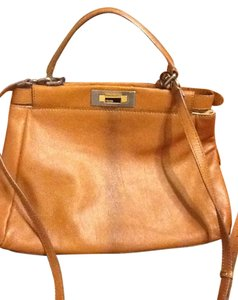Fendi Peekaboo Leopard Suede Fi.h1118.20 Satchel in Brown