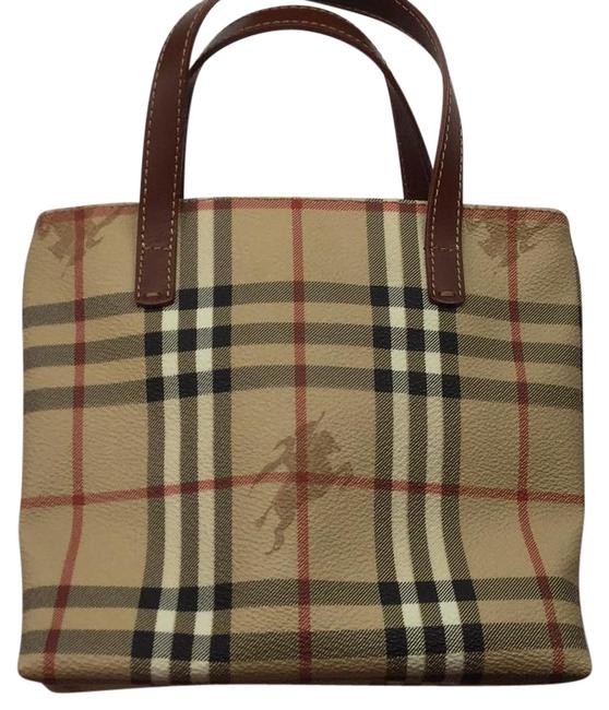 Item - Beige Black Red Tan Brown Leather and Coated Canvass Tote