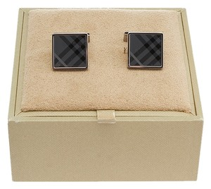 Burberry Burberry Men's Silver-Tone Smoked Grey Nova Check Cufflinks (24457)