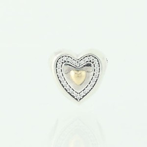 PANDORA Pandora Always In My Heart Charm - Sterling Silver 14k Gold 791523cz