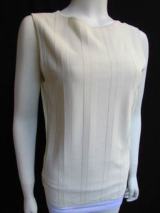 Valentino Women Basic Cream Off White Viscose Crew Neck Sleeveless Top Ivories