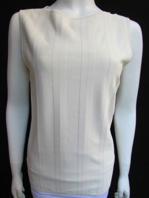 Valentino Women Basic Cream Off White Viscose Crew Neck Sleeveless Top Ivories Image 2