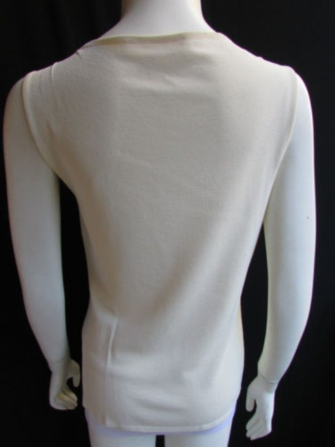 Valentino Women Basic Cream Off White Viscose Crew Neck Sleeveless Top Ivories Image 6
