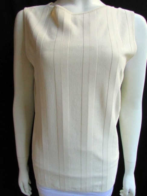 Valentino Women Basic Cream Off White Viscose Crew Neck Sleeveless Top Ivories Image 8