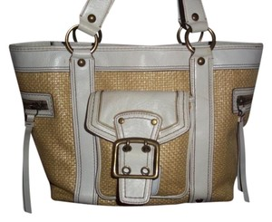 Coach Vintage Leather Straw Buckle Tote in white