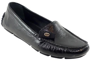 Gucci 317041 Patent Leather Loafer Black Flats