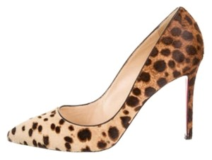 Christian Louboutin Designer Stilettos Heels Brown and tan cheetah print Pumps
