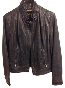 Laundry by Shelli Segal Leather Classic Chic Cobalt Leather Jacket