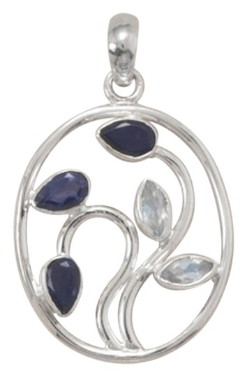 unknown Sterling Silver Iolite and Rainbow Moonstone Pendant