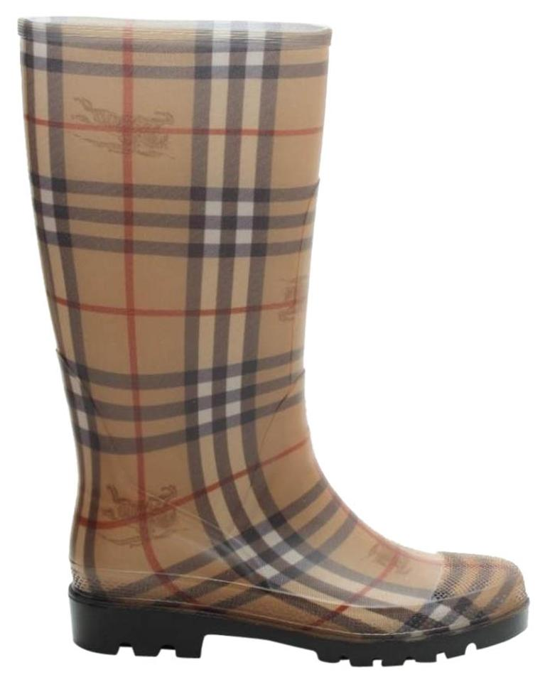 Burberry Beige Tan House Check Rubber Rain Rain Rain Italy Boots/Booties 22f7cc