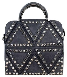 Montana West Studded Suede Shoulder Strap Satchel in Black