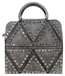 Montana West Studded Suede Shoulder Strap Satchel in Grey