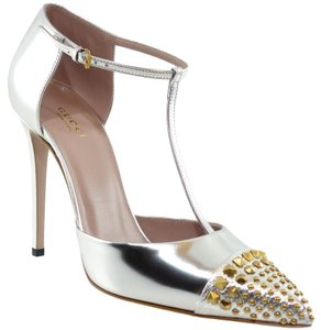 Gucci Metallic Leather T-bar Pump Argento Pumps