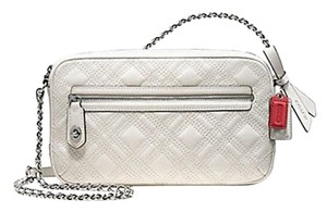 Coach Silver Flight Parchment White Chain Cross Body Bag