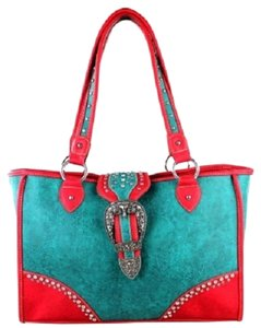 Montana West Conceal Pocket Studded Buckle Tote in Turquoise