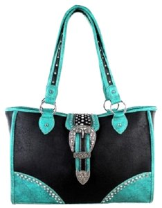 Montana West Conceal Pocket Studded Buckle Tote in Black