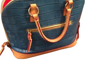 Dooney & Bourke Croc Crocodile Embossed Zip Satchel in Marine