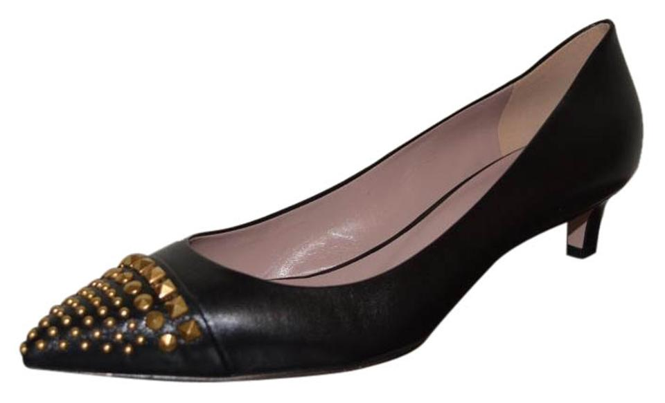 0ce5bb57be54 Gucci Black Leather Colin Stud Pointed Toe Kitten Heel Eu 39 Pumps ...