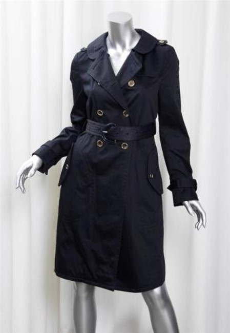 Item - Womens Classic Navy Cotton Double-breasted Belted Trench Jacket Coat