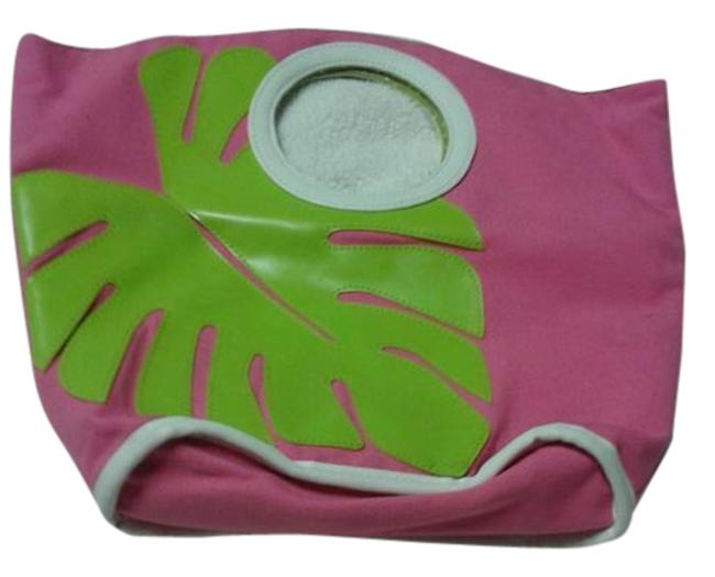 Item - Tote Bag Pink/Green Cotton Polyester Satchel