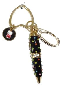 Betsey Johnson gold tone / black mini pen /gum ball machine charm/ key ring/ fob