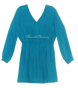 Amanda Uprichard Mini Tunic Blouson Teal Dress