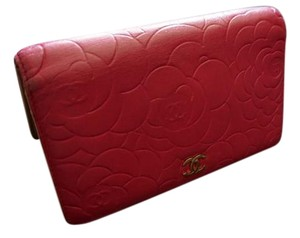 Chanel Auth CHANEL Lambskin Leather Camellia Long Wallet Bifold