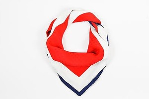 Chanel Chanel Red Cream Navy Silk Logo Bow Print Square Scarf