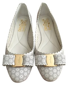 Salvatore Ferragamo Classic Lace Bow Summer Leather White Flats