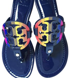 af9e2bf90835e Tory Burch Royal Navy Miller Rainbow Logo 7.5m Sandals Size US 7.5 ...