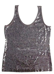 Garnet Hill Sequined Sequins Top Gray-Brown