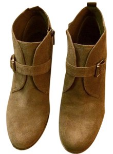 Franco Sarto Suede Zipper Buckle Wedge Brown/Desert Boots