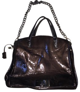 Céline Celine Patent Leather Satchel in Dark Grey