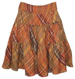Isda & Co. Metallic Plaid Tiered Orange Skirt