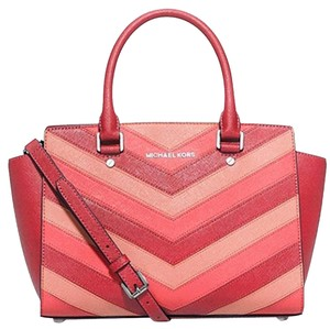 1428b55fe40b78 Michael Kors Saffiano Leather Selma Jet Set Item Toe Satchel in multicolor  coral pink