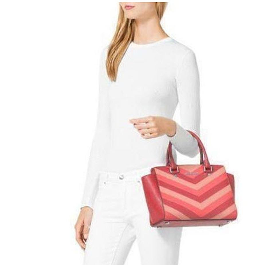 db74f830e34c Michael Kors Saffiano Leather Selma Jet Set Item Toe Satchel in Coral Pink .