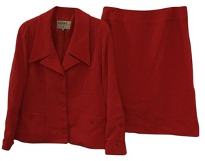 Chanel Chanel Boutique Boucle' Red Skirt Suit